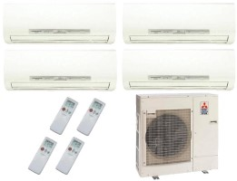 Mitsubishi Quad Zone MXZ4C36NA MSZFH09NA (THREE) MSZFH12NA hyper heat ductless split