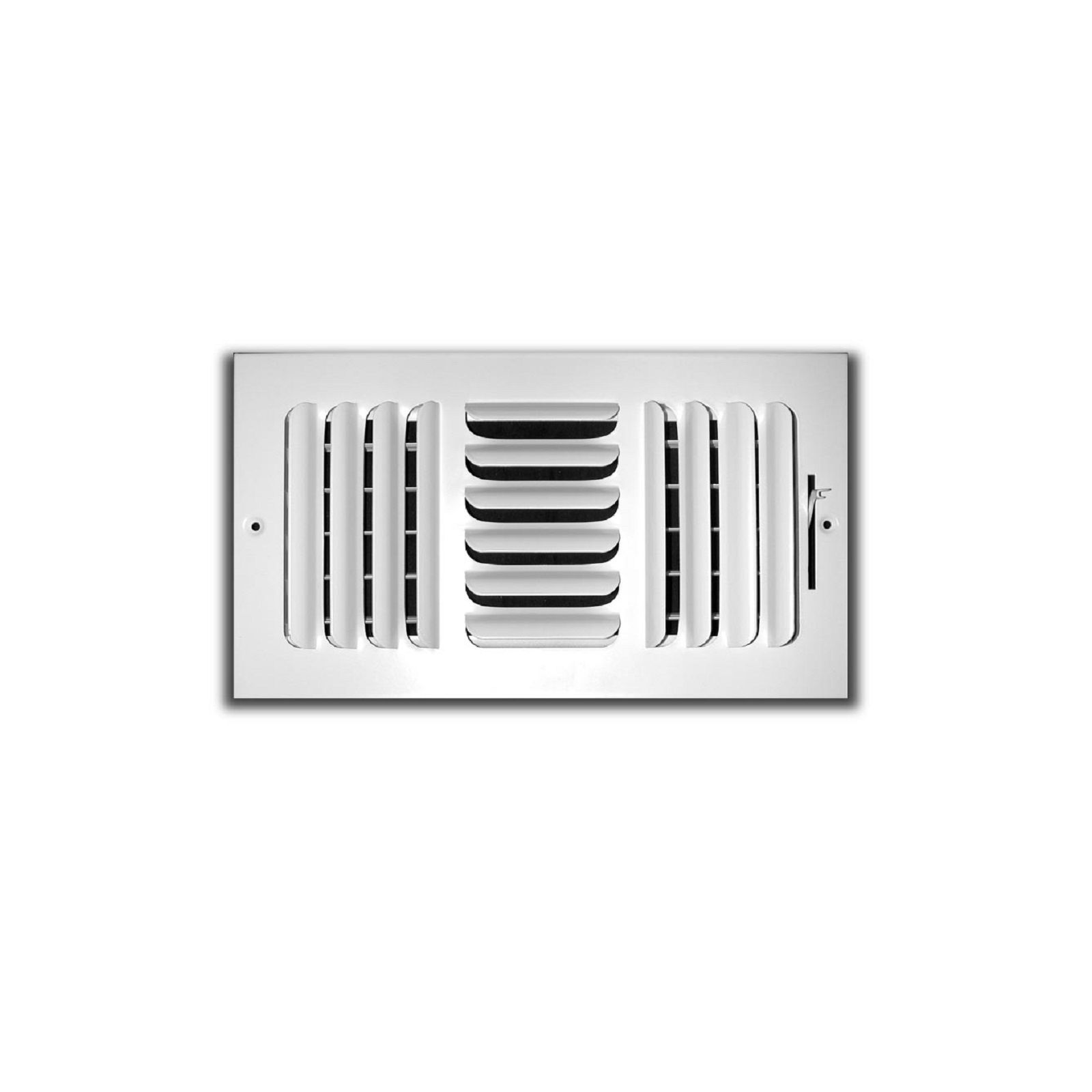 "TRUaire 403M 06X06 - Fixed Curved Blade Wall/Ceiling Register With Multi Shutter Damper, 3-Way, White, 06"" X 06"""