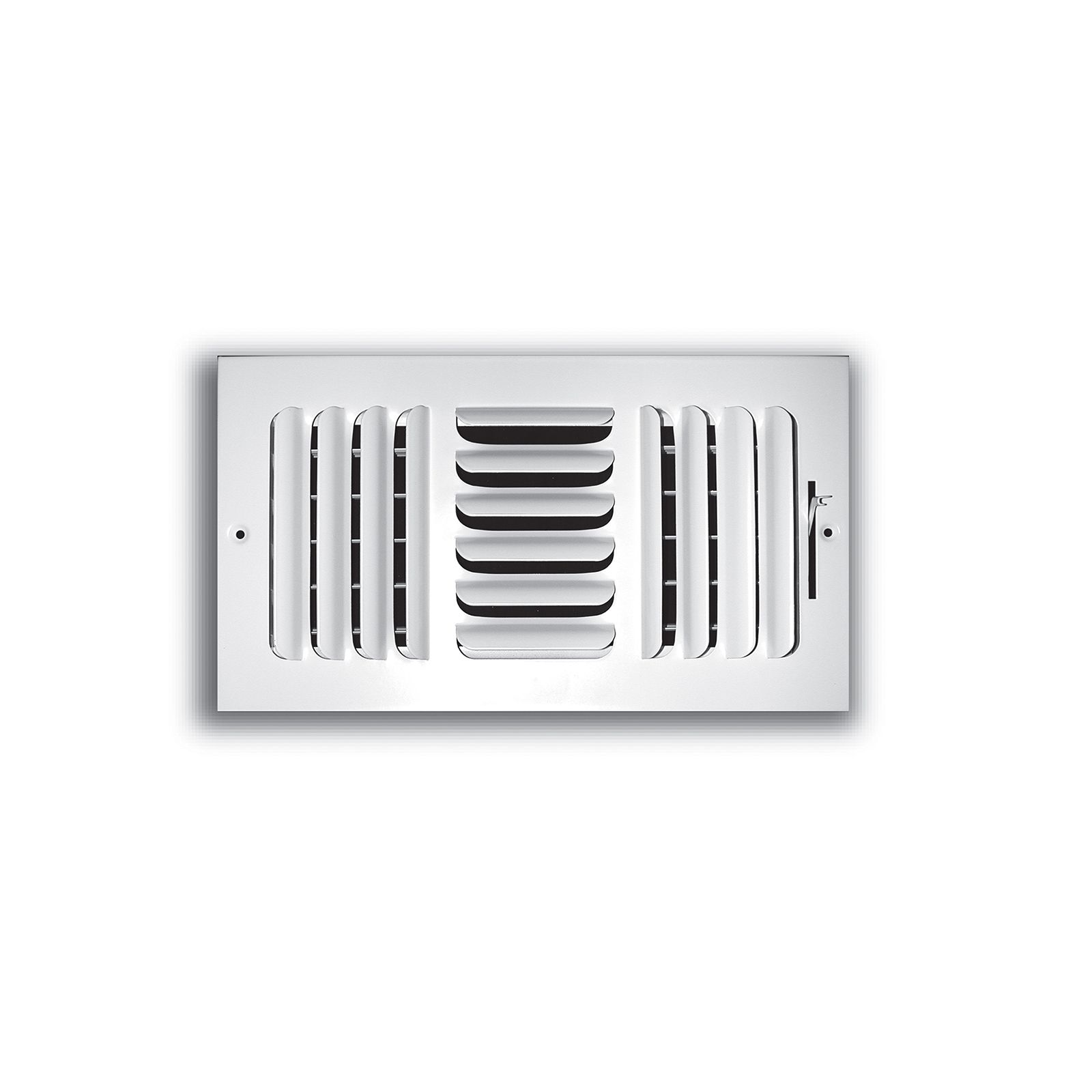 "TRUaire 403M 12X04 - Fixed Curved Blade Wall/Ceiling Register With Multi Shutter Damper, 3-Way, White, 12"" X 04"""