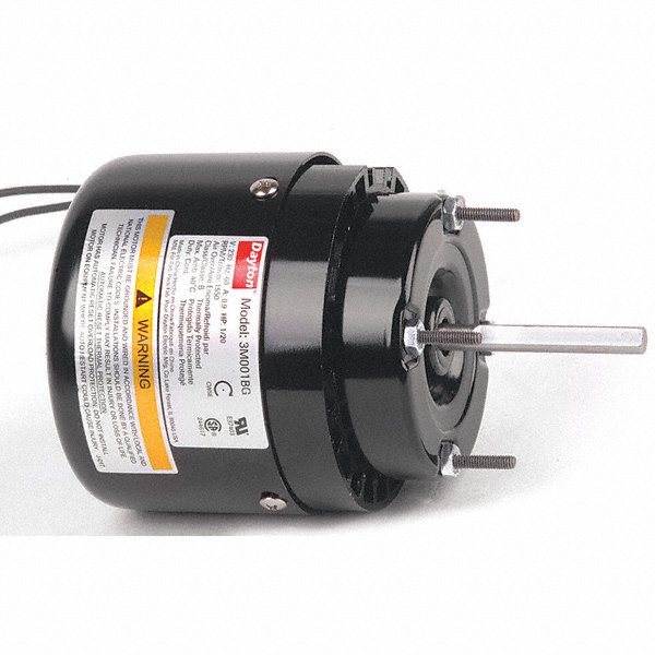 DAYTON 1/20 HP, HVAC Motor, Shaded Pole, 1550 Nameplate RPM, 230 Voltage, Frame 3.3