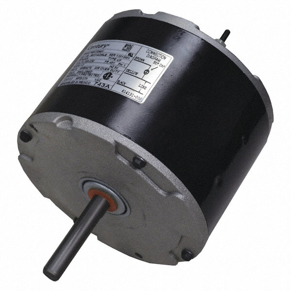 CENTURY 1/6 HP Direct Drive Motor, Permanent Split Capacitor, 825 Nameplate RPM, 208-230 VoltageFrame 48Y
