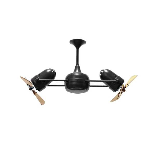 Mathews Fan Company Duplo Dinamico Matte Black Rotational Ceiling Fan With Mahogany Blades