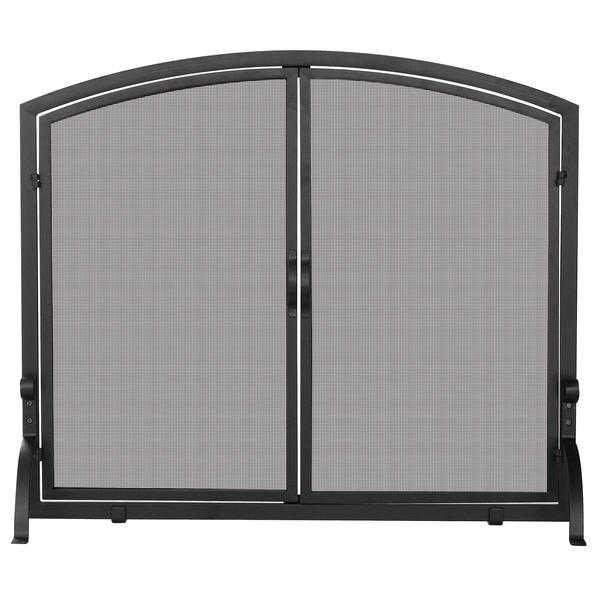UniFlame Single Panel Black Wrought Iron Screen with Doors, Medium