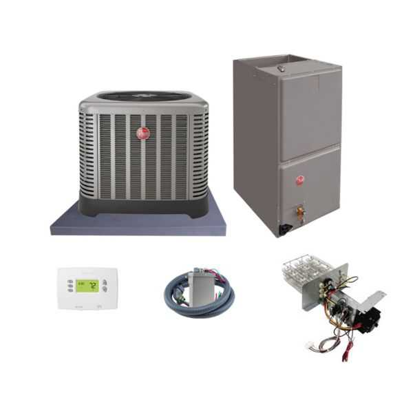 Rheem (AHRI 7490727) 1 1/2 Ton, 14.5 SEER/12 EER Classic Series, Horizontal Air Conditioner Split System and Install Kit