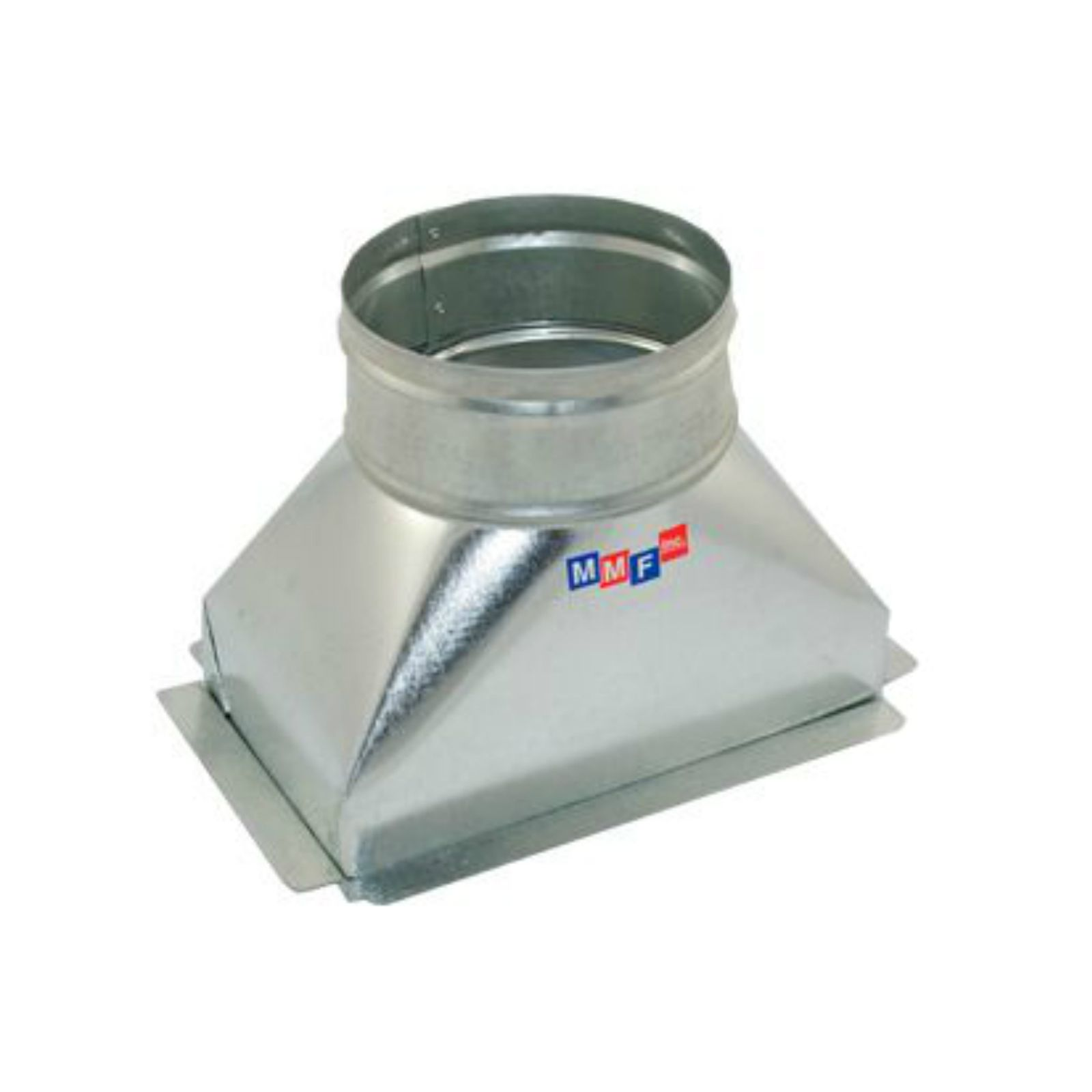 "Modular Metal BTSFG080606P - Sealed Floor Box - 30 Gauge - With Plaster Ground Flange 08"" X 06"" To 06"" Round - 3"" Straight"